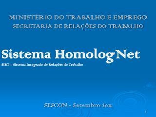 MINISTÉRIO DO TRABALHO E EMPREGO SECRETARIA DE RELAÇÕES DO TRABALHO