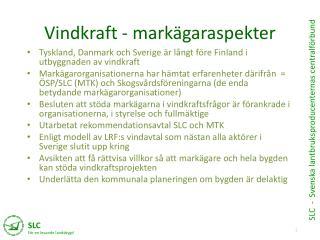 Vindkraft - markägaraspekter