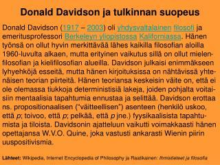 Donald Davidson ja tulkinnan suopeus