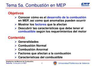 Tema 5a. Combusti�n en MEP