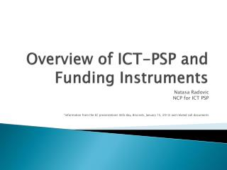 Overview of ICT-PSP and Funding Instruments