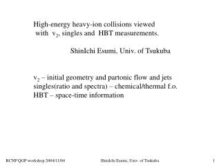 High-energy heavy-ion collisions viewed   with  v 2 , singles and  HBT measurements.
