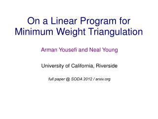 On a Linear Program for Minimum Weight Triangulation