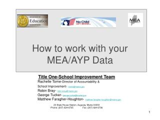 How to work with your MEA/AYP Data
