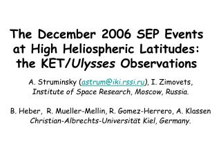 The December 2006 SEP Events at High Heliospheric Latitudes: the KET/ Ulysses  Observations