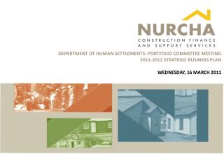 DEPARTMENT OF HUMAN SETTLEMENTS: PORTFOLIO COMMITTEE MEETING 2011-2012 STRATEGIC BUSINESS PLAN