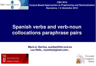 Spanish verbs and verb-noun collocations paraphrase pairs