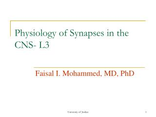 Physiology of Synapses in the CNS- L3