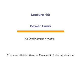 Lecture 10: Power Laws