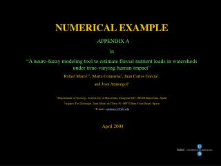 NUMERICAL EXAMPLE APPENDIX A in