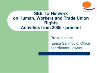 SEE TU Network on Human, Workers and Trade Union Rights Activities from 2005 - present