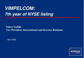7th year of NYSE listing