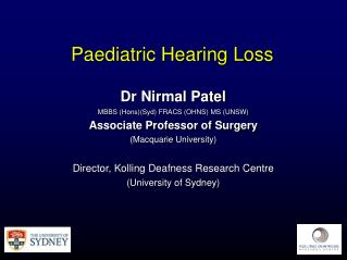 Paediatric Hearing Loss