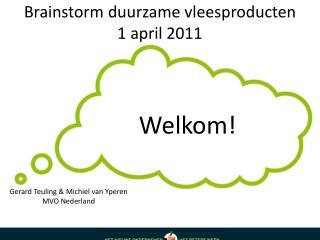 Brainstorm duurzame vleesproducten 1 april 2011