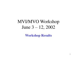 MVI/MVO Workshop June 3 – 12, 2002