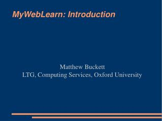 MyWebLearn: Introduction