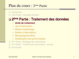 Plan du cours :  2 ème  Partie