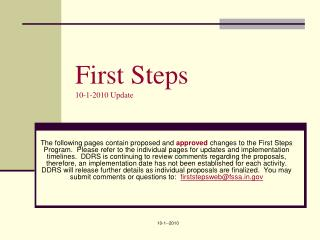 First Steps 10-1-2010 Update