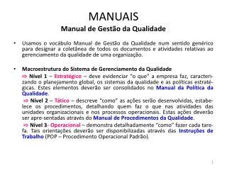 MANUAIS Manual de Gestão da Qualidade