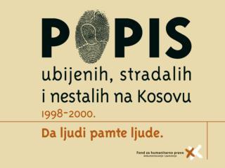 Izvori podataka  o  ubistvima, nestancima i stradanju Srba i drugih nealbanaca  na Kosovu :