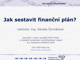Seminář v rámci soutěže MUP Praha o nejlepší studentský podnikatelský nápad