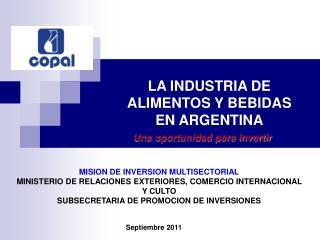 LA INDUSTRIA DE ALIMENTOS Y BEBIDAS  EN ARGENTINA