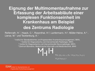 ISAK Institut f�r Standardisiertes und               Angewandtes Krankenhausmanagement