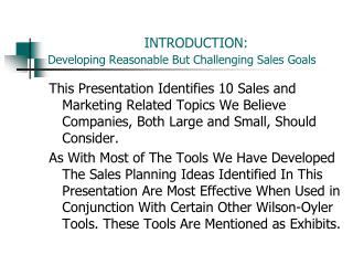 INTRODUCTION: Developing Reasonable But Challenging Sales Goals