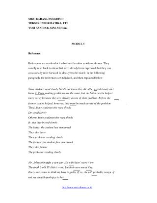 MKU BAHASA INGGRIS II TEKNIK INFORMATIKA, FTI YUSI ASNIDAR, S.Pd, M.Hum. MODUL 5 Reference
