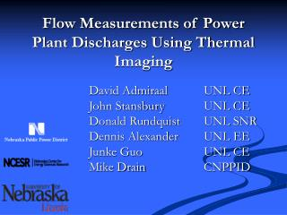 Flow Measurements of Power Plant Discharges Using Thermal Imaging