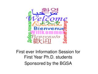 First ever Information Session for First Year Ph.D. students Sponsored by the BGSA