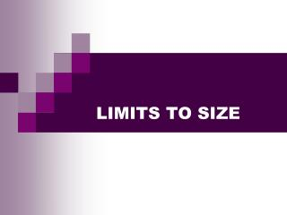 LIMITS TO SIZE