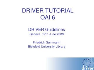 DRIVER TUTORIAL OAI 6