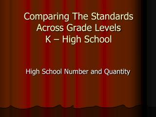 Comparing The Standards Across Grade Levels K – High School