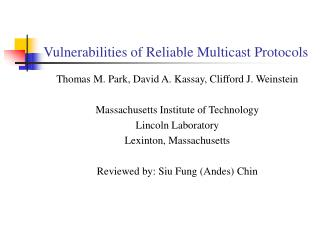Vulnerabilities of Reliable Multicast Protocols