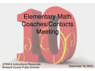 Elementary Math Coaches/Contacts Meeting