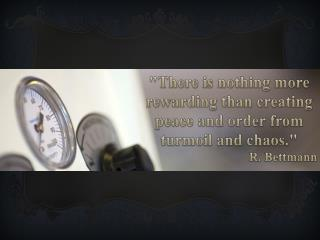 """""""There is nothing more  rewarding than creating  peace and order from turmoil and chaos."""""""