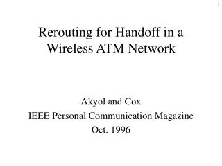Rerouting for Handoff in a Wireless ATM Network
