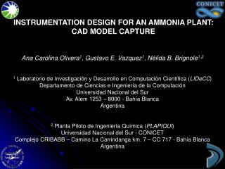 INSTRUMENTATION DESIGN FOR AN AMMONIA PLANT: CAD MODEL CAPTURE