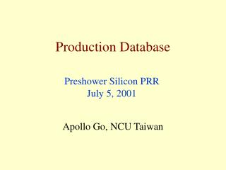 Production Database
