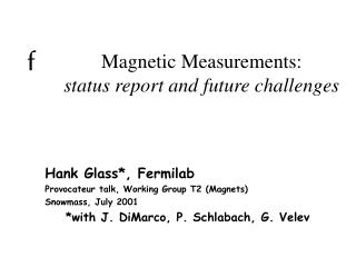 Magnetic Measurements: status report and future challenges
