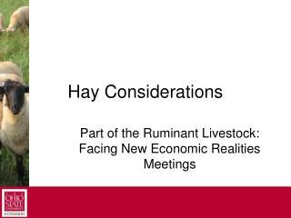 Hay Considerations