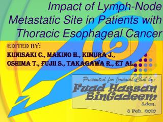Impact of Lymph-Node Metastatic Site in Patients with Thoracic Esophageal Cancer