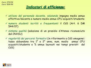 Corsi 270/04 Corsi 509/99