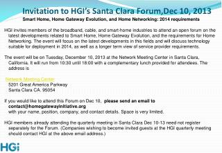 Invitation to HGI's Santa Clara Forum,Dec 10, 2013