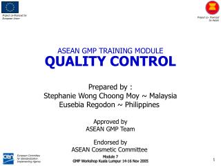 ASEAN GMP TRAINING MODULE QUALITY CONTROL