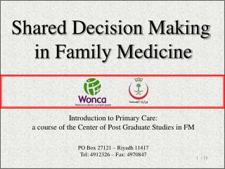Shared Decision Making  in Family Medicine