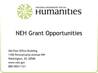 NEH Grant Opportunities