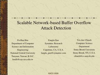 Scalable Network - based Buffer Overflow Attack Detection