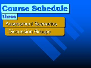 Course Schedule three 	Assessment Scenarios 	  Discussion Groups